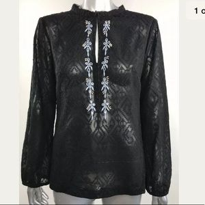 Nanette Lepore Blouse Top Black Embroidered Sheer